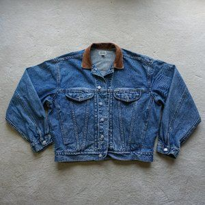 VINTAGE GUESS JEAN JACKET LEATHER COLLAR